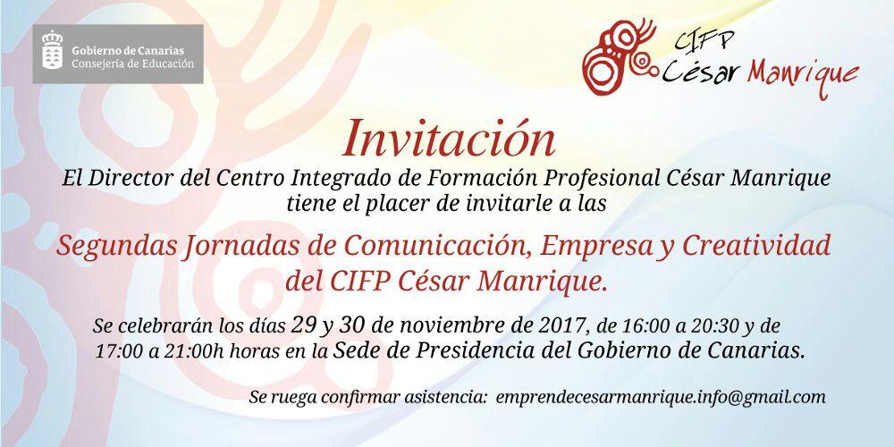 Invitación Segundas Jornadas de Comunicación, Empresa y Creatividad