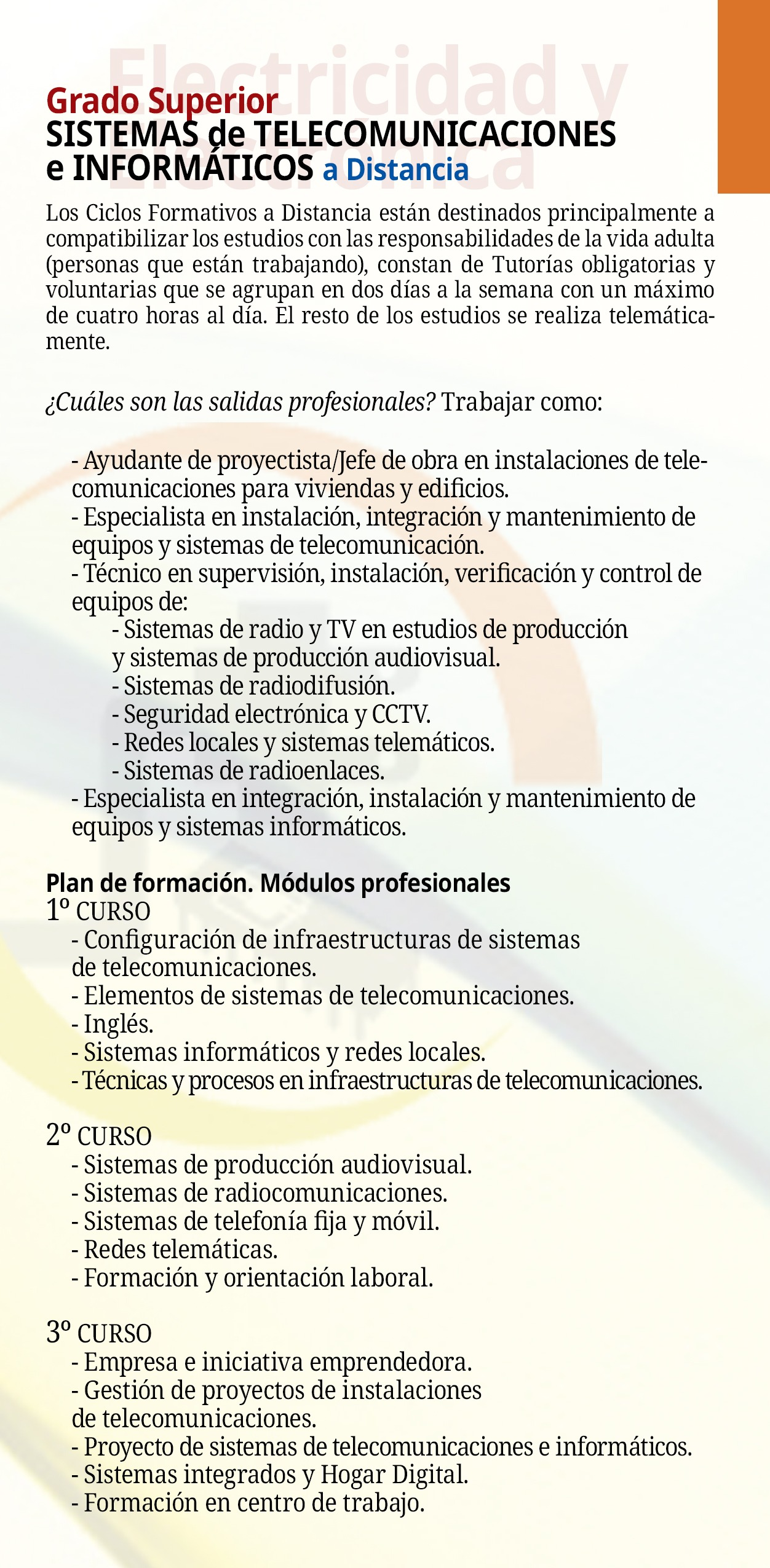 Folleto Grado Superior Sistemas Telecomunicaciones e Informáticos Semipresencial Reverso