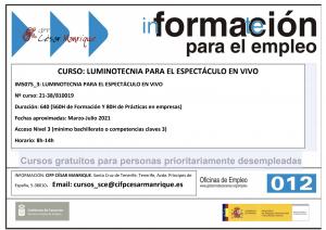 Certificado de profesionalidad Iluminotecnia para el espectáculo en vivo