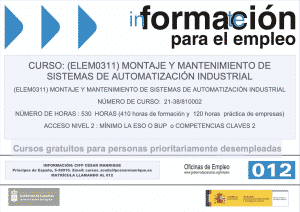 Certificado profesionalidad Montaje y mantenimento de sistemas de automatización industrial