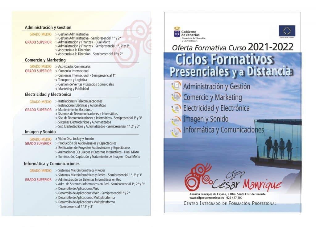 Oferta formativa del curso 2021 2022 en el CIFP César Manrique