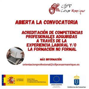 Abierta convocatoria de acreditaciones de competencias profesionales a través de la experiencia laboral